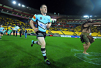 Paul Gallen leads the Sharks out for the National Rugby League match between the NZ Warriors and Cronulla Sharks at Westpac Stadium in Wellington, New Zealand on Friday, 19 July 2019. Photo: Dave Lintott / lintottphoto.co.nz