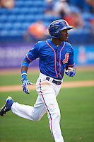 St. Lucie Mets center fielder Champ Stuart (2) during a game against the Brevard County Manatees on April 17, 2016 at Tradition Field in Port St. Lucie, Florida.  Brevard County defeated St. Lucie 13-0.  (Mike Janes/Four Seam Images)