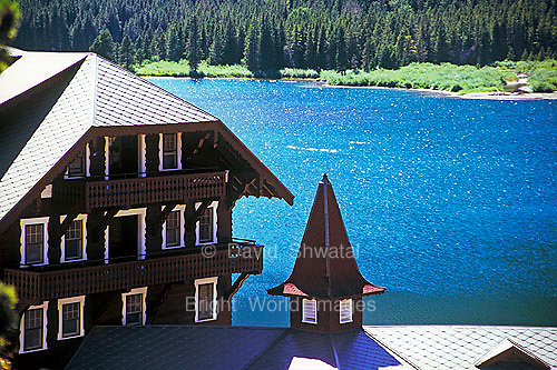 Many Glacier Hotel and Swiftcurrent Lake in Glacier National Park Montana USA