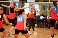 24.08.2016 Silver Ferns Storm Purvis in action during the Silver Ferns Training in Auckland. Mandatory Photo Credit ©Michael Bradley.