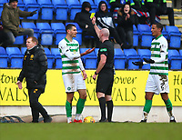1st March 2020; McDairmid Park, Perth, Perth and Kinross, Scotland; Scottish Premiership Football, St Johnstone versus Celtic; Nir Bitton of Celtic is yellow carded by referee Bobby Madden