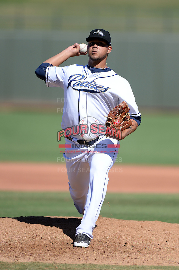 Peoria Javelinas pitcher Adys Portillo (49), of the San Diego Padres organization, during an Arizona Fall League game against the Mesa Solar Sox on October 16, 2013 at Surprise Stadium in Surprise, Arizona.  Mesa defeated Peoria 3-1.  (Mike Janes/Four Seam Images)