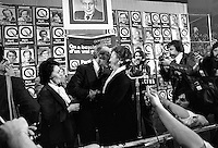November 15 1976 file photo - Montreal (Qc) CANADA - Lise Payete (MO and other Candidates of the Parti Quebecois celebrate the 1976 victory with the party leader Rene Levesque , November 15 1976 at Centre Paul Sauve.