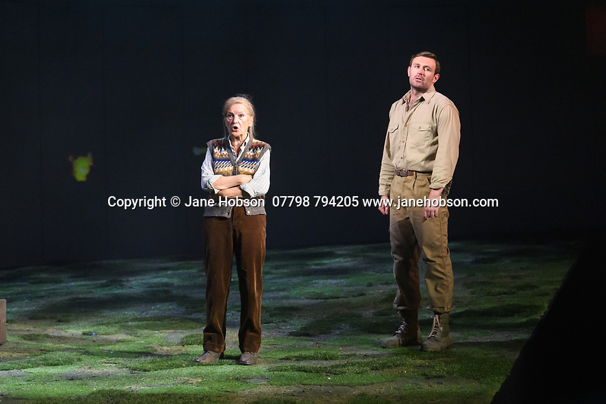 "Edinburgh, UK. 01.08.2019. The National Theatre of Great Britain presents ""Peter Gynt"", by David Hare, directed by Jonathan Kent, at the Festival Theatre, as part of the Edinburgh International Festival. Picture shows: Ann Louise Ross (Agatha), James McArdle (Peter Gynt). Photograph © Jane Hobson."