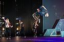 London, UK. 18.10.2013. Boy Blue Entertainment perform THE FIVE AND THE PROPHECY OF PRANA at the Barbican theatre. Dancers are: Michele 'Paleta' Rhyner, Bradley 'Bradz' Charles, Theo 'Godson' Oloyade, Kofi 'Klik' Mingo, Xena Gusthart, Vicky 'Skytilz' Mantey, Duwane Taylor, Kayla Lomas-Kirton, shaun Smith, Hakim Saber and Jumar Aben. Picture shows: Bradley 'Bradz' Charles. Photograph © Jane Hobson.
