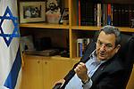 Israel's Defence Minister Ehud Barak, at his office in the 'Kirya', Israeli army HQ in Tel Aviv, Israel.<br /> November 19, 2008<br /> Photo by Ahikam Seri
