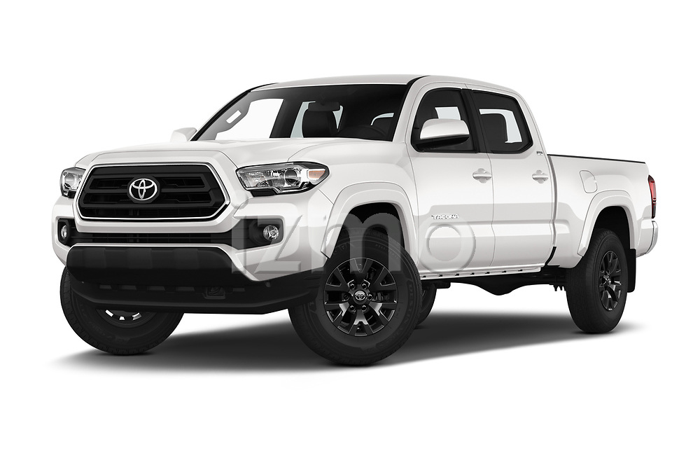 Stock pictures of low aggressive front three quarter view of a 2020 Toyota Tacoma SR5 4 Door Pick Up