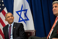 """United States President Barack Obama winks during a bilateral meeting with Prime Minister of Israel Benjamin Netanyahu at the Lotte New York Palace Hotel, September 21, 2016 in New York City. Last week, Israel and the United States agreed to a $38 billion, 10-year aid package for Israel. Obama is expected to discuss the need for a """"two-state solution"""" for the Israeli-Palestinian conflict. Photo Credit: Drew Angerer/CNP/AdMedia"""