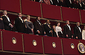 United States President George W. Bush and first lady Laura Bush attend the Kennedy Center Honors at the John F. Kennedy Center for the Performing Arts in Washington, D.C. on Sunday, December 2, 2001. This year's honorees are, left to right, pianist Van Cliburn, actor Jack Nicholson, singer Julie Andrews, opera singer Luciano Pavarotti, and music maestro Quincy Jones. U.S. Secretary of State Colin Powell is on the right..Credit: Robert Trippett - Pool via CNP