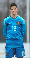 20180308 - TUBIZE , BELGIUM : Belgian Senne Lammens pictured during a friendly game between the teams of the Belgian Red Devils Under 16 and Northern Ireland Under 16 at the Belgian Football Centre in Tubize , Thursday 8 th March 2018 ,  PHOTO Dirk Vuylsteke | Sportpix.Be