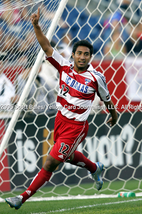 16 July 2005: Dallas's Arturo Alvarez celebrates his first half goal, which gave Dallas a 1-0 lead. The New England Revolution defeated FC Dallas 3-2 at Gillette Stadium in Foxboro, Massachusetts in a Major League Soccer regular season match..
