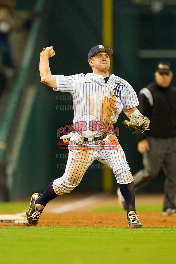 Third baseman Shane Hoelscher #2 of the Rice Owls makes a throw to first base against the Texas A&M Aggies at Minute Maid Park on March 5, 2011 in Houston, Texas.  Photo by Brian Westerholt / Four Seam Images