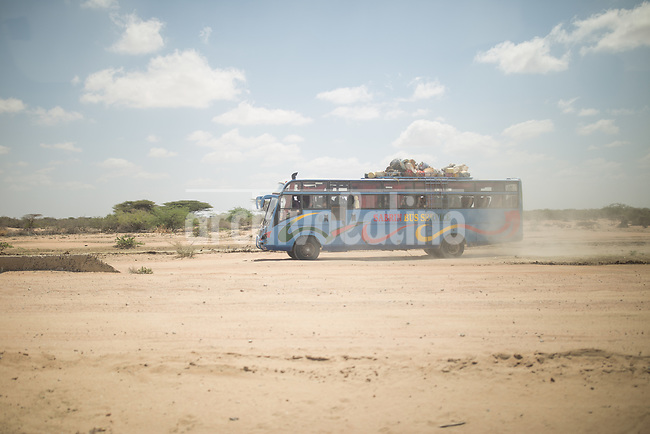 A bus full of refugees from Somalia arrive to    Kakuma, Kenya.Kakuma refugee camp in North of Kenya. Kakuma is the site of a UNHCR refugee camp, established in 1991. The population of Kakuma town was 60,000 in 2014, having grown from around 8,000 in 1990. In 1991, the camp was established to host the 12,000 unaccompanied minors who had fled the war in Sudan and came walking from camps in Ethiopia.