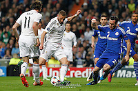 Real Madrid´s French forward Karim Benzema scoring a goal