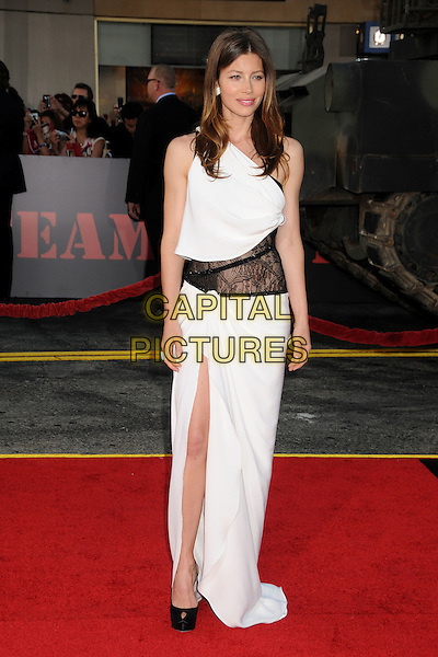 """JESSICA BIEL.""""The A-Team"""" Los Angeles Premiere held at Grauman's Chinese Theatre, Hollywood, California, USA..June 3rd, 2010.full length dress wrap white one shoulder black lace maxi slit split peep toe platform shoes  .CAP/ADM/BP.©Byron Purvis/AdMedia/Capital Pictures."""