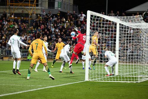 01.09.2016. nib Stadium, Perth, Australia. World Cup Football Qualifier. Australia versus Iraq. Iraq's goalkeeper Mohammed Hameed saves a shot on goal during the second half.