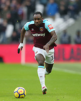 West Ham United's Michail Antonio<br /> <br /> Photographer Rob Newell/CameraSport<br /> <br /> The Premier League - West Ham United v Watford - Saturday 10th February 2018 - London Stadium - London<br /> <br /> World Copyright &copy; 2018 CameraSport. All rights reserved. 43 Linden Ave. Countesthorpe. Leicester. England. LE8 5PG - Tel: +44 (0) 116 277 4147 - admin@camerasport.com - www.camerasport.com