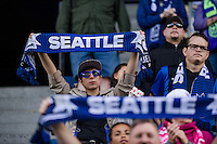Seattle, WA - Sunday, May 22, 2016: Seattle Reign FC fans cheer on their team during a regular season National Women's Soccer League (NWSL) match at Memorial Stadium.