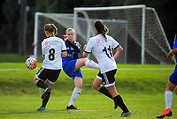 Action from the Kate Sheppard Cup women's  football match between Roslyn Wakari and Queenstown Rovers at Ellis Park in Dunedin, New Zealand on Saturday, 11 May 2019. Photo: Dave Lintott / lintottphoto.co.nz