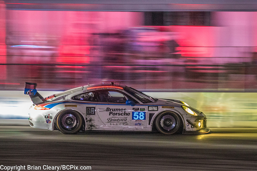 Night  action, #58 Porsche,  Jan Heylen, Milo Valverde, Madison Snow 12 Hours of Sebring, Sebring International Raceway, Sebring, FL, March 2015.  (Photo by Brian Cleary/ www.bcpix.com )