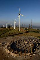 KENYA, Nairobi, Ngong Hills, 25,5 MW Wind Power Station with Vestas and Gamesa wind turbines, owned and operated by KENGEN Kenya Electricity Generating Company, foundation of demontaged windmill / KENIA, Ngong Hills Windpark, Betreiber KenGen Kenya Electricity Generating Company mit Vestas und Gamesa Windkraftanlagen, Fundament einer abgebauten Windmuehle