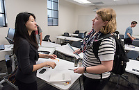 Professor Jane Hong teaches history, Johnson Hall, Oct. 28, 2015.<br /> (Photo by Marc Campos, Occidental College Photographer)