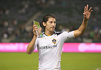 CARSON, CA - October 16, 2011: LA Galaxy defender Omar Gonzalez (4) was awarded the Galaxy's Best Defender Award after the match between LA Galaxy and Chivas USA at the Home Depot Center in Carson, California. Final score LA Galaxy 1, Chivas USA 0.