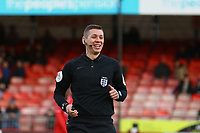 Referee Matthew Donohue during Crawley Town vs Fleetwood Town, Emirates FA Cup Football at Broadfield Stadium on 1st December 2019