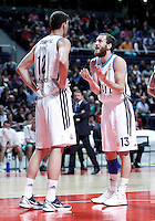 Real Madrid's Nikola Mirotic (l) and Sergio Rodriguez during Euroleague 2012/2013 match.January 11,2013. (ALTERPHOTOS/Acero) NortePHOTO