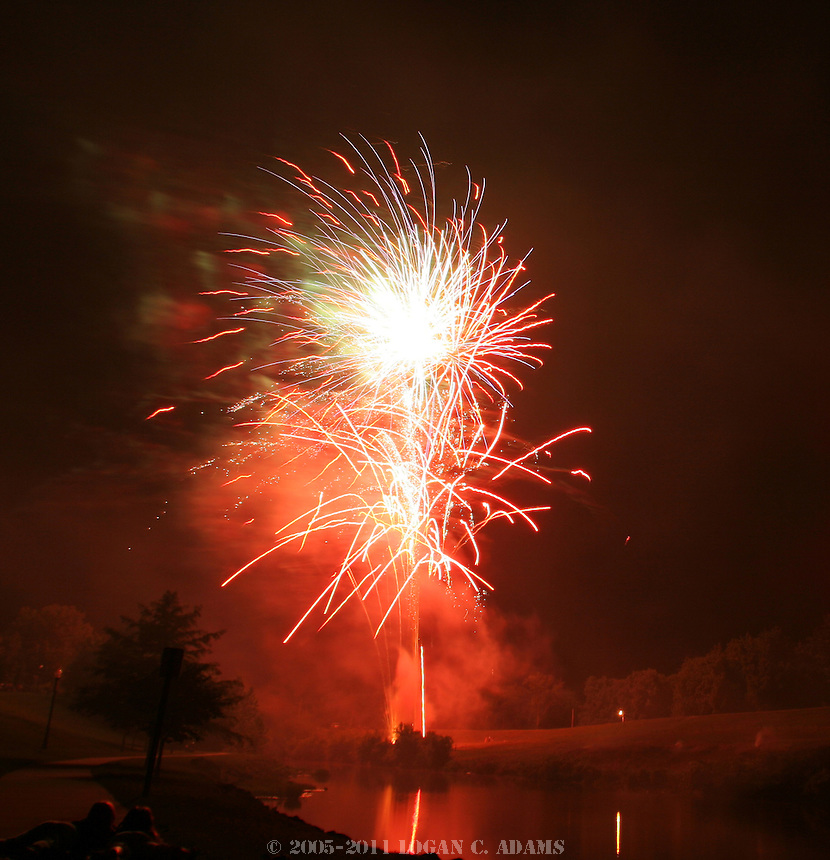 Independence Day Fireworks at the Riverwalk in Council Grove, Kan. Produced by Stars & Stripes Fireworks.
