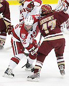 Colin Moore (Harvard - 12), Brian Gibbons (BC - 17) - The Boston College Eagles defeated the Harvard University Crimson 3-2 on Wednesday, December 9, 2009, at Bright Hockey Center in Cambridge, Massachusetts.