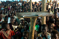 Around 300 primary chool children.attending class together in the refugee camp at Nyori, South Sudan..
