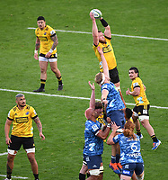 14th June 2020, Aukland, New Zealand;   Hurricanes take the lineout  at the Investec Super Rugby Aotearoa match, between the Blues and Hurricanes held at Eden Park, Auckland, New Zealand.