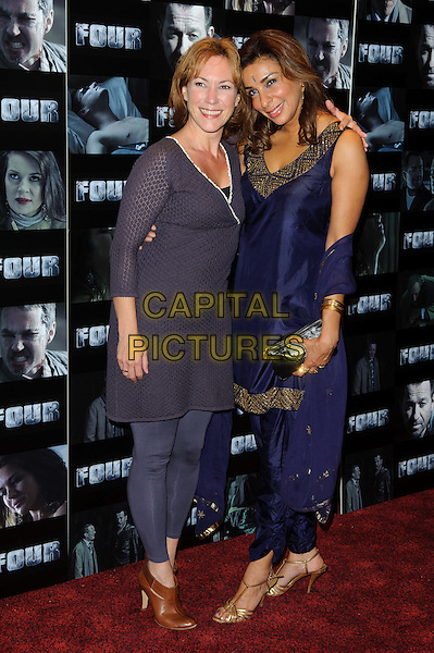 Tanya Franks and Shobna Gulati .UK premiere of 'Four' at The Empire Cinema - Arrivals, London, England..October 10th, 2011.full length blue leggings purple dress top .CAP/CJ.©Chris Joseph/Capital Pictures.