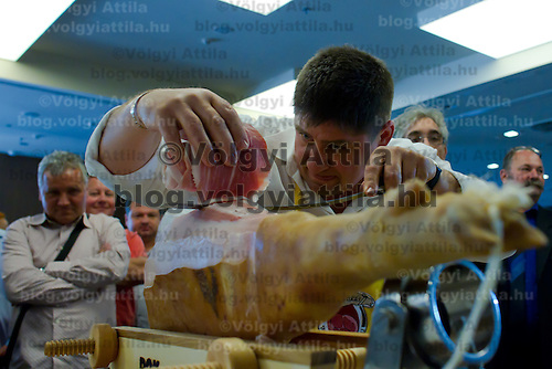 Andras Godor works on his winning 234 cm long slice during the first ever ham slicing competition in Budapest, Hungary on May 9, 2012. ATTILA VOLGYI