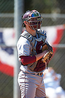 Central Michigan Chippewas catcher Blake Cleveland (4) during practice before a game against the Boston College Eagles on March 3, 2017 at North Charlotte Regional Park in Port Charlotte, Florida.  Boston College defeated Central Michigan 5-4.  (Mike Janes/Four Seam Images)