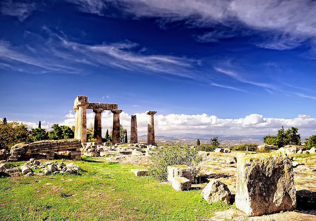 Ancient ruins of the temple of Apollo in Corinth, Greece