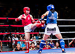Wong She Ki (Red) of Hong Kong fights against Kim Heejung (Blue) of South Korea in the female muay 54KG division weight bout during the East Asian Muaythai Championships 2017 at the Queen Elizabeth Stadium on 12 August 2017, in Hong Kong, China. Photo by Yu Chun Christopher Wong / Power Sport Images
