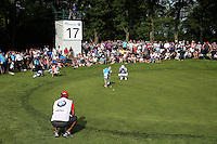 View of the 17th green as the last match of Scott Hend (AUS) and Danny Willett (ENG) get set to putt out during Round Three of the 2016 BMW PGA Championship over the West Course at Wentworth, Virginia Water, London. 28/05/2016. Picture: Golffile   David Lloyd. <br /> <br /> All photo usage must display a mandatory copyright credit to © Golffile   David Lloyd.