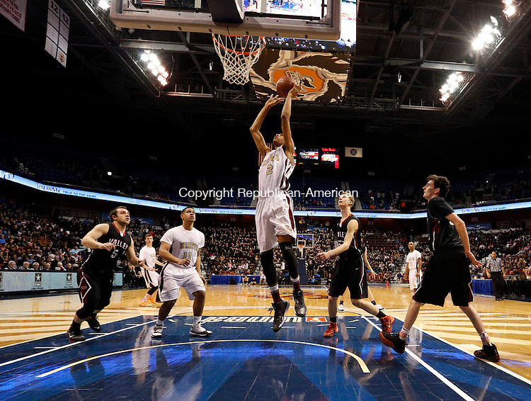 Uncasville, CT- 22 March 2015-032215CM30- Sacred Heart's John Riddick shoots for two against Valley Regional during their Class S state championship game at Mohegan Sun Arena in Uncasville on Sunday. The Hearts won, 71-46.    Christopher Massa Republican-American