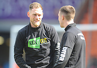 Blackpool's Harry Pritchard and Chris Long during the pre-match warm-up <br /> <br /> Photographer Kevin Barnes/CameraSport<br /> <br /> The EFL Sky Bet League One - Blackpool v Peterborough United - Saturday 13th April 2019 - Bloomfield Road - Blackpool<br /> <br /> World Copyright &copy; 2019 CameraSport. All rights reserved. 43 Linden Ave. Countesthorpe. Leicester. England. LE8 5PG - Tel: +44 (0) 116 277 4147 - admin@camerasport.com - www.camerasport.com