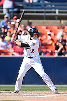 Frederick Keys catcher Wynston Sawyer (18) during a game against the Carolina Mudcats on April 26, 2014 at Harry Grove Stadium in Frederick, Maryland.  Carolina defeated Frederick 4-2.  (Mike Janes/Four Seam Images)