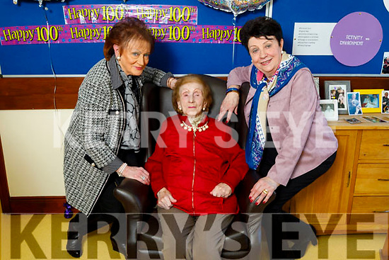 Joan Hayes celebrating her 100th birthday in the Oaklands Nursing Home in Listowel on Thursday with her daughters Angela O'Flaherty, Ann Codrich