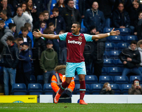 21.02.2016. Ewood Park, Blackburn, England. Emirates FA Cup 5th Round. Blackburn Rovers versus West Ham United. West Ham midfielder Dimitri Payet celebrates after scoring his second goal to put his side 5-1 ahead in the final minutes of the game.