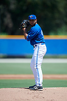 GCL Blue Jays starting pitcher Angel Alicea (90) gets ready to deliver a pitch during a game against the GCL Pirates on July 20, 2017 at Bobby Mattick Training Center at Englebert Complex in Dunedin, Florida.  GCL Pirates defeated the GCL Blue Jays 11-6 in eleven innings.  (Mike Janes/Four Seam Images)