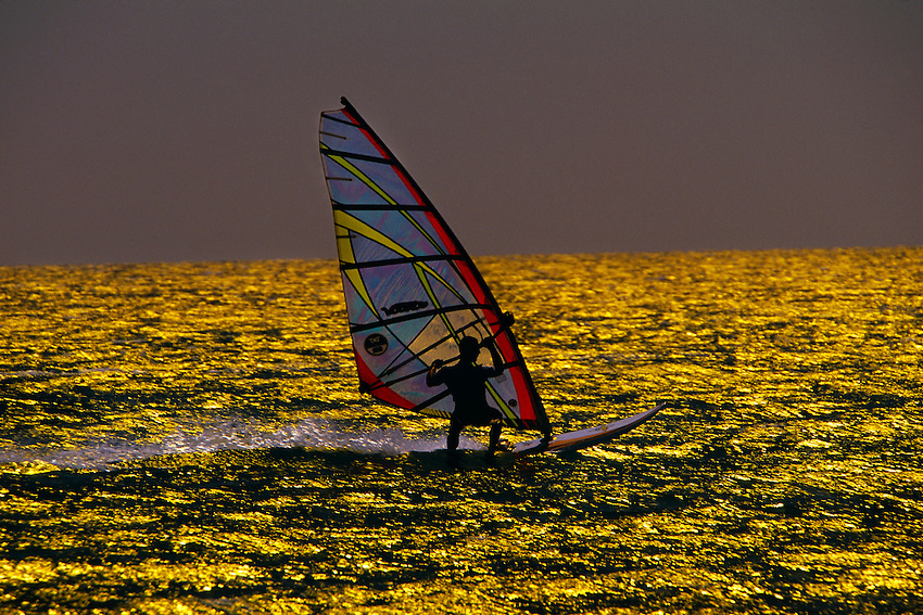 Windsurfing at the Prasonisi Islet on the south end of the island of Rhodes, Dodecanese, Greece