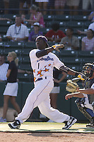 Winston-Salem Dash outfielder Justin Greene of the Carolina League All-Stars taking part in the home run derby before the California League vs. Carolina League All-Star game held at BB&T Coastal Field in Myrtle Beach, SC on June 22, 2010. The California League All-Stars defeated the Carolina League All-Stars by the score of 4-3.  Photo By Robert Gurganus/Four Seam Images