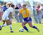 BROOKINGS, SD - AUGUST  22: Nicole Hatcher #10 from South Dakota State University controls the ball in front of Taylor Howe #14 from Green Bay in the first half of their game Sunday afternoon at Fischback Soccer Field in Brookings. (Photo by Dave Eggen/Inertia)