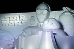 February 3, 2019, Sapporo, Japan - A large snow sculpture of characters of Star Wars is lit up at the 70th annual Sapporo Snow Festival in Sapporo in Japan's nortern island of Hokkaido on Sunday, February 3, 2019. The week-long snow festival will open on February 4 through February 11 and over 2.5 million people are expecting to visit the festival.   (Photo by Yoshio Tsunoda/AFLO) LWX -ytd-