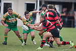 Chris Mana gets the pass away as Tommie Benadie & Nathan Pyne converge. Counties Manukau Premier Club Rugby Game of the Week between Drury & Papakura, played at Drury Domain on Saturday Aprill 11th, 2009..Drury won 35 - 3 after leading 15 - 5 at halftime.